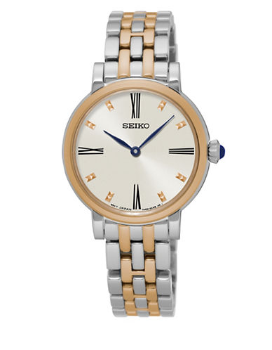 Seiko Analog Quartz Dualtone Stainless Steel Watch-SILVER/GOLD-One Size