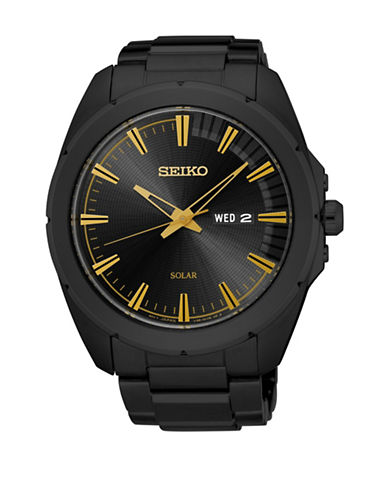 Seiko Hard Coated Stainless Steel Solar Watch-BLACK-One Size