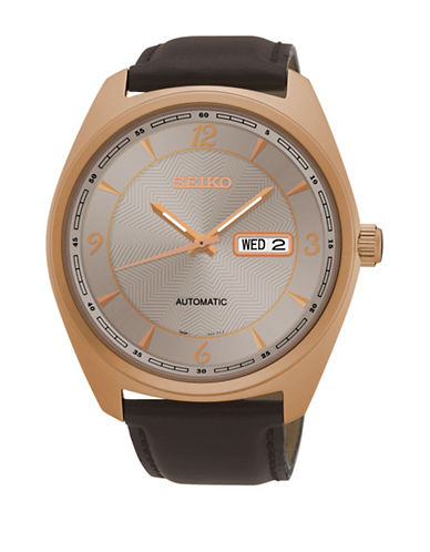 Seiko Analog Automatic Leather Strap Watch-BROWN-One Size