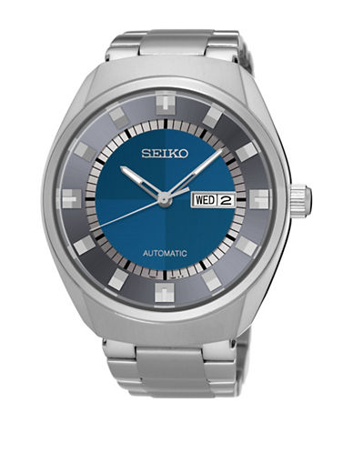 Seiko Automatic Silvertone Contrast Dial Bracelet Watch-SILVER-One Size