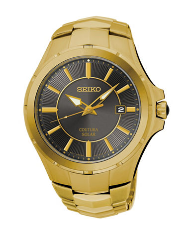 Seiko Solar Coutura Collection Goldplated Bracelet Watch-GOLD-One Size