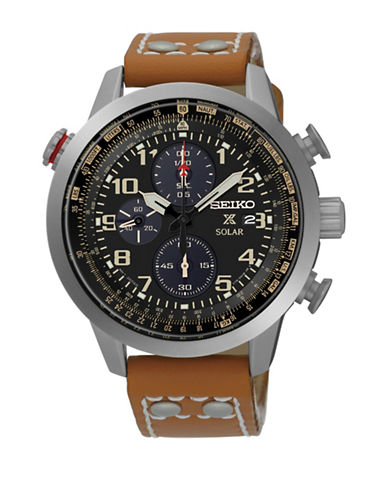 Seiko Solar Prospex Collection Flight Computer Brown Leather Strap Watch-BROWN-One Size