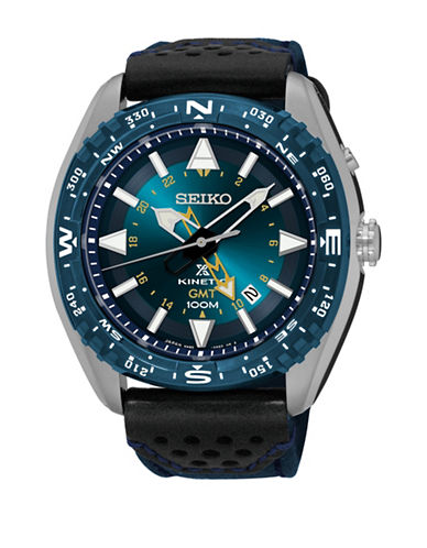 Seiko Prospex Collection Kinetic Black Leather Strap Watch-BLACK-One Size