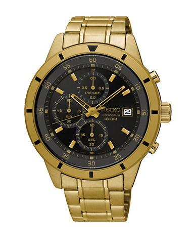 Seiko Chronograph Goldtone Bracelet Watch-GOLD-One Size