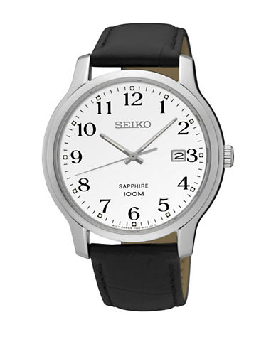 Seiko SEIKO Analog Goldtone Leather Strap Watch-BLACK-One Size