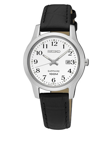 Seiko Automatic Sapphire Stainless Steel Leather Strap Watch-BLACK-One Size