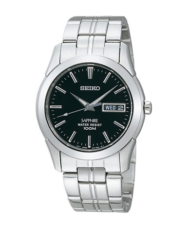 Seiko Analog Sapphire Stainless Steel Bracelet Watch-SILVER-One Size