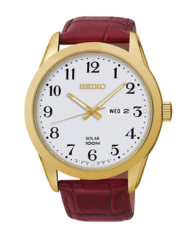 Seiko Analog Goldtone Leather Strap Watch-BROWN-One Size