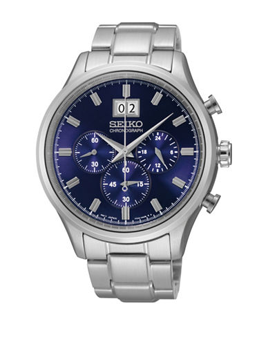 Seiko Chronograph Stainless Steel Bracelet Watch-SILVER-One Size