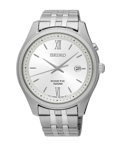 Seiko Kinetic Stainless Steel Link Bracelet Watch-SILVER-One Size