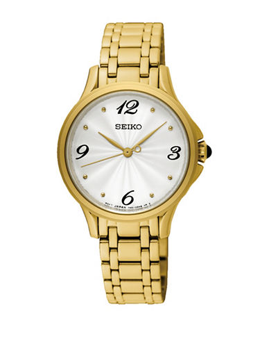 Seiko Analog Yellow Gold Stainless Steel Bracelet Watch-GOLD-One Size