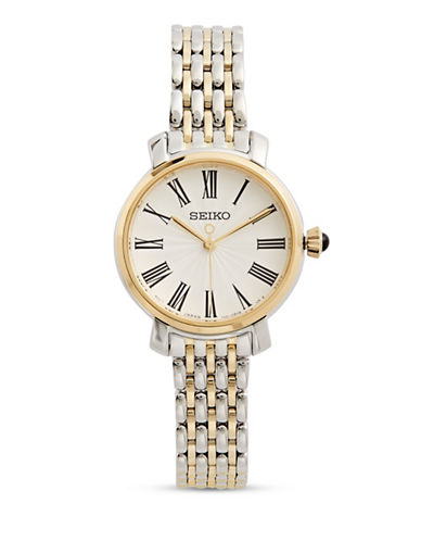Seiko Analog Two-Tone Stainless Steel Link Bracelet Watch-TWO-TONE-One Size