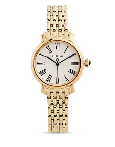 Seiko Analog Goldtone Stainless Steel Link Bracelet Watch-GOLD-One Size
