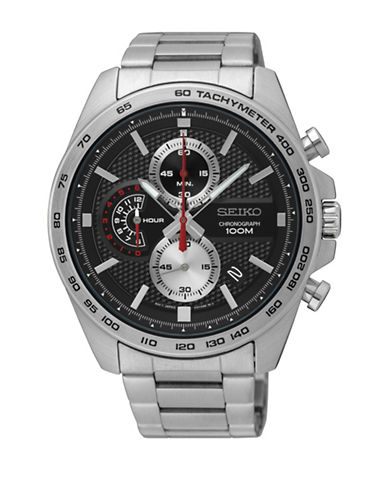 Seiko Chronograph Stainless Steel Link Bracelet Watch-SILVER-One Size