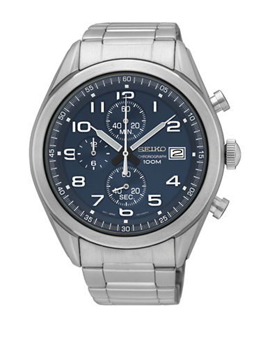 Seiko Solar Chronograph Stainless Steel Link Bracelet Watch-SILVER-One Size