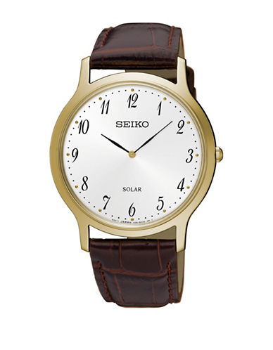 Seiko Solar Goldtone Stainless Steel Leather Strap Watch-BROWN-One Size