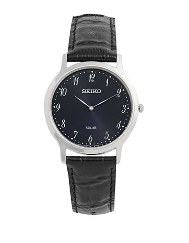 Seiko Solar Stainless Steel  Leather Strap Watch-BLACK-One Size