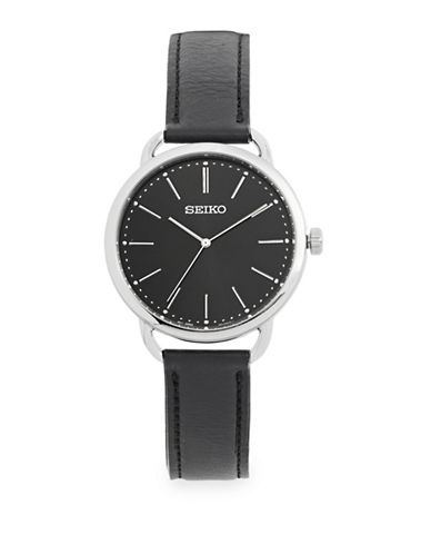 Seiko Black Dial Leather Strap Watch-WHITE-One Size