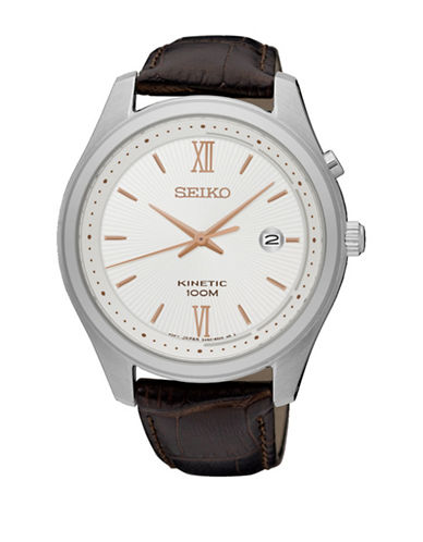 Seiko Kinetic Strap Watch-BROWN-One Size