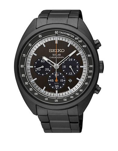 Seiko Solar Chronograph Black Stainless Steel Link Bracelet Watch-BLACK-One Size
