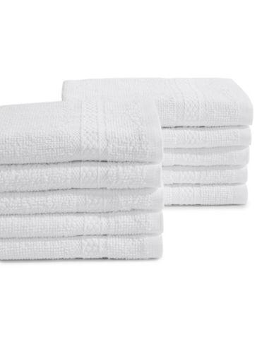 Essential Needs Ten-Piece Terry Cotton Washcloth Set-WHITE-One Size