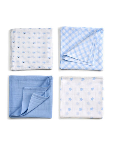 Gund Spunky 4-Pack Swaddle Blanket-SPUNKY BLUE-One Size