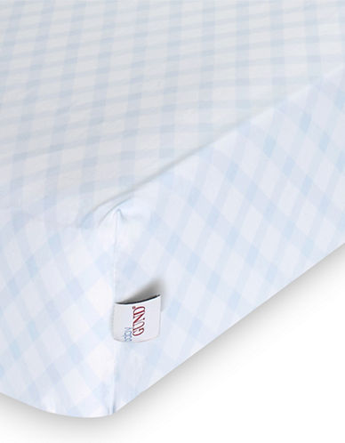 Gund Picnic Plaid Deluxe Crib Sheet-PEEK A BLUE PLAID-One Size