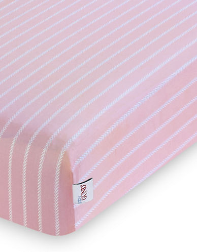 Gund Herringbone Deluxe Crib Sheet-POPSICLE PINK HERRINGBONE-One Size
