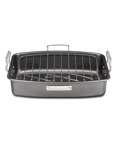 Cuisinart 17in x 13in Non Stick Roasting Pan with V Rack-GREY-17