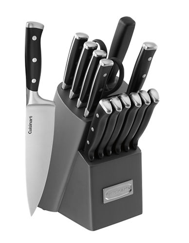 Cuisinart 15 Pc Forged Triple Riveted Knife Block Set-BLACK-One Size