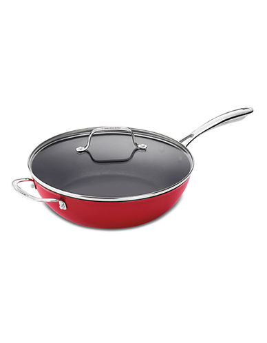 Cuisinart Cast Iron Lite Cookware 4.5 Qt. Chefs Pan with Helper and Cover in Red-RED-4.5