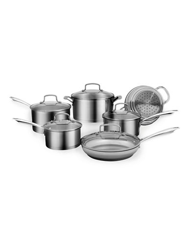 Cuisinart 11-Piece Single Ply Stainless Steel Cookware Set - Induction Ready-SILVER-11L
