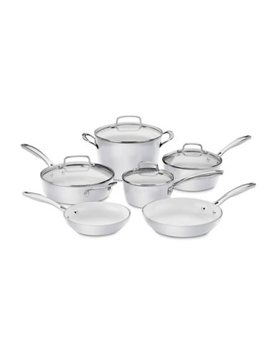 Cuisinart 10-Piece Induction Non-Stick Ceramic Cookware Set-WHITE-One Size