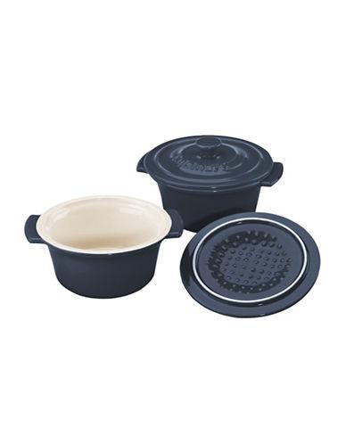 Cuisinart Set of 2 Mini Round Ceramic Cocottes-BLUE-2 Piece