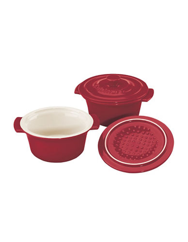 Cuisinart Set of 2 Mini Round Ceramic Cocottes-RED-2 Piece