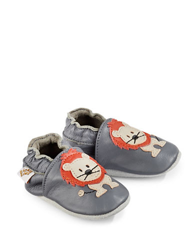 Tickle Toes Lion Soft Leather Shoes-GREY-12-18 Months