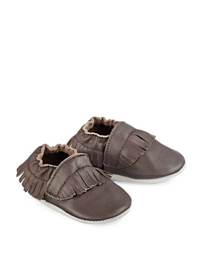 Tickle Toes Fringe Soft Leather Shoes-BROWN-18-24 Months