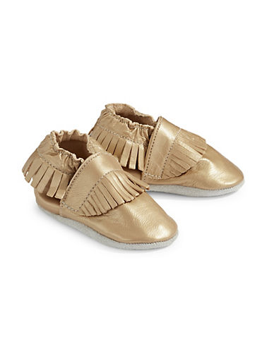 Tickle Toes Fringe Metallic Soft Leather Shoes-GOLD-6-12 Months