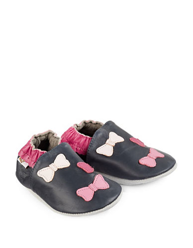 Tickle Toes Bow Soft Leather Shoes-NAVY-12-18 Months
