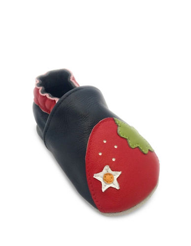 Tickle Toes Strawberry Soft Leather Shoes-NAVY-18-24 Months