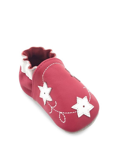 Tickle Toes Flowers Soft Leather Shoes-FUCHSIA-6-12 Months
