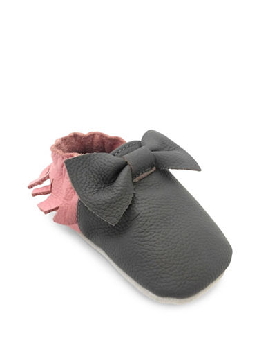 Tickle Toes Bow Soft Leather Shoes-GREY/PINK-0-6 Months