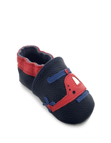 Tickle Toes Choppers Soft Leather Shoes-NAVY/RED-0-6 Months