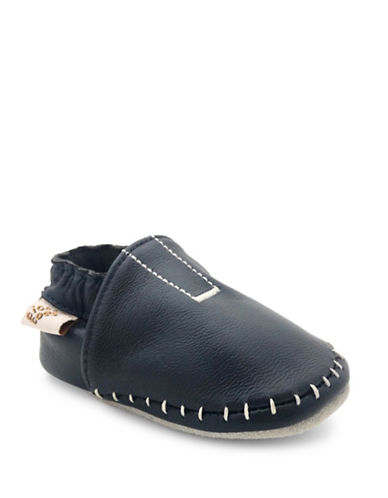 Tickle Toes Contrast Stitch Soft Leather Shoes-NAVY-12-18 Months