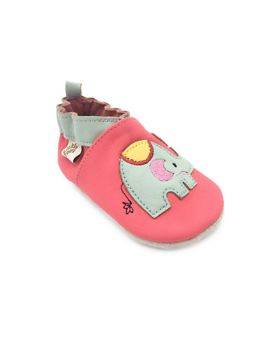 Tickle Toes Elephant Leather Slippers-PINK-0-6 Months