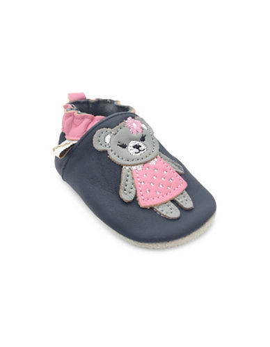Tickle Toes Kids Teddy Soft Leather Shoes-NAVY-0-6 Months