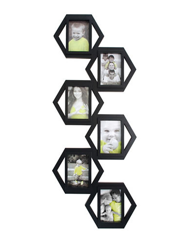 Kiera Grace Hexagon Six-Image Collage Frame-BLACK-One Size