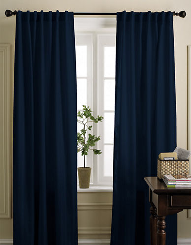 Home Studio Damask Striped Drapes-NAVY-84 inches
