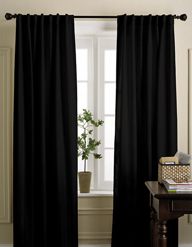 Home Studio Damask Striped Drapes-BLACK-95 inches