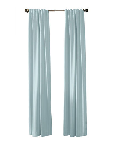 Damask Stripe Set of Two Woven Striped Drapery Panels-TURQUOISE-108 inches